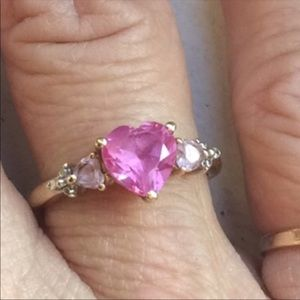 Jewelry - Pink Sapphires Diamonds 10K gold ladies lovering❤️